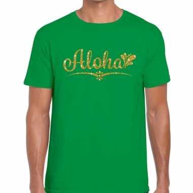 Aloha goud glitter hawaii groen heren t-shirt kopen
