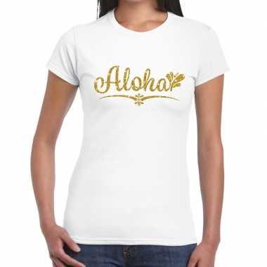 Aloha goud glitter hawaii wit dames t-shirt kopen