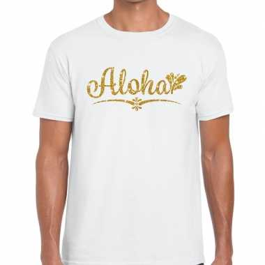 Aloha goud glitter hawaii wit heren t-shirt kopen