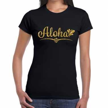 Aloha gouden glitter hawaii zwart dames t-shirt kopen
