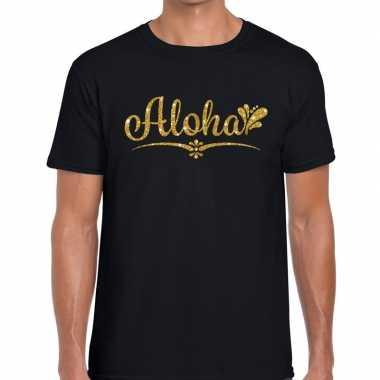 Aloha gouden glitter hawaii zwart heren t-shirt kopen