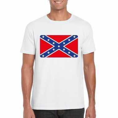 Amerikaanse zuidelijke staten vlag wit heren t-shirt