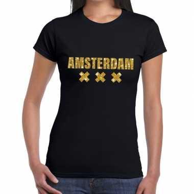 Amsterdam gouden glitter tekst zwart dames t-shirt kopen