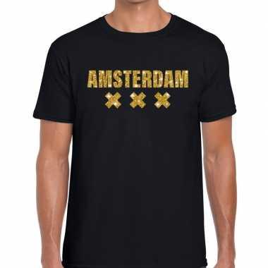 Amsterdam gouden glitter tekst zwart heren t-shirt kopen