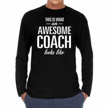 Awesome coach cadeau long sleeves zwart heren t-shirt kopen