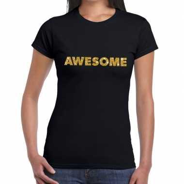 Awesome goud glitter tekst zwart dames t-shirt kopen