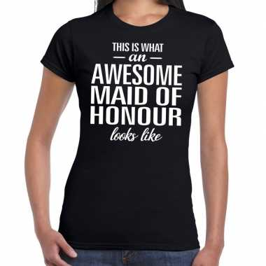 Awesome maid of honour/getuige cadeau zwart dames t-shirt kopen