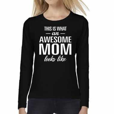 Awesome mom cadeau long sleeve zwart dames t-shirt kopen