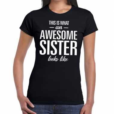Awesome sister tekst zwart dames t-shirt kopen