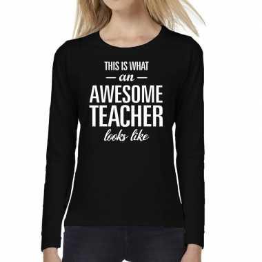 Awesome teacher cadeau long sleeve zwart dames t-shirt kopen