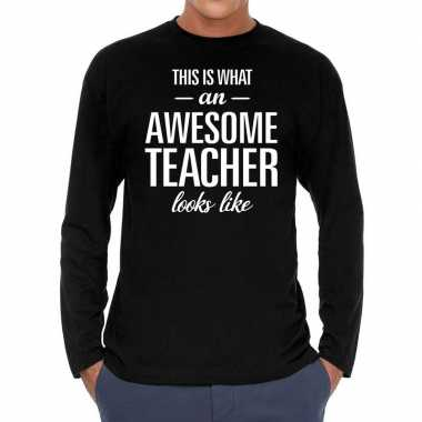Awesome teacher cadeau long sleeves zwart heren t-shirt kopen