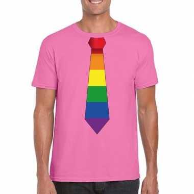 Azalea roze regenboog vlag stropdas heren t-shirt kopen
