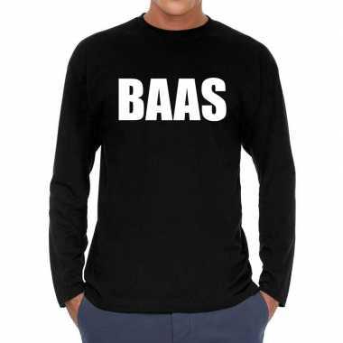 Baas long sleeve zwart heren t-shirt kopen