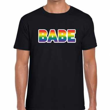Babe regenboog gaypride zwart heren t-shirt kopen