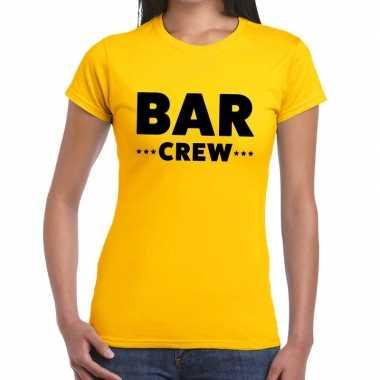 Bar crew / personeel tekst geel dames t-shirt kopen