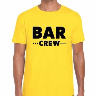 Bar crew / personeel tekst geel heren t-shirt kopen