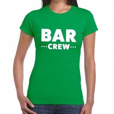 Bar crew / personeel tekst groen dames t-shirt kopen