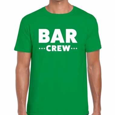 Bar crew / personeel tekst groen heren t-shirt kopen