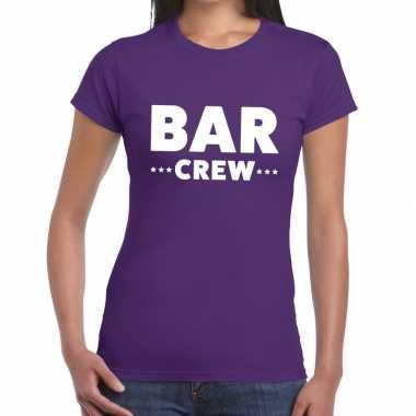 Bar crew / personeel tekst paars dames t-shirt kopen