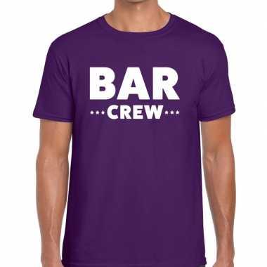 Bar crew / personeel tekst paars heren t-shirt kopen