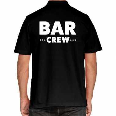 Bar crew / personeel tekst polo zwart heren t-shirt kopen
