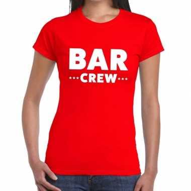 Bar crew / personeel tekst rood dames t-shirt kopen