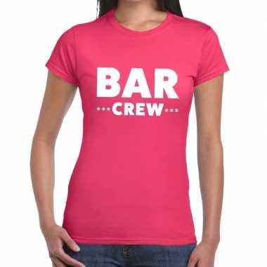 Bar crew / personeel tekst roze dames t-shirt kopen