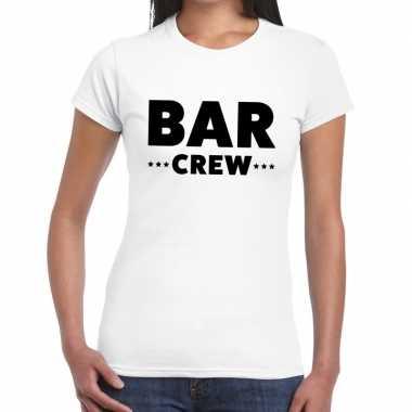 Bar crew / personeel tekst wit dames t-shirt kopen