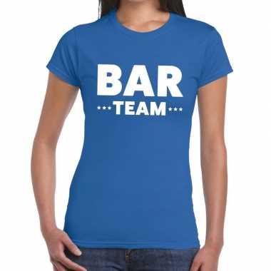 Bar team / personeel tekst blauw dames t-shirt kopen