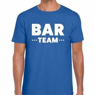Bar team / personeel tekst blauw heren t-shirt kopen