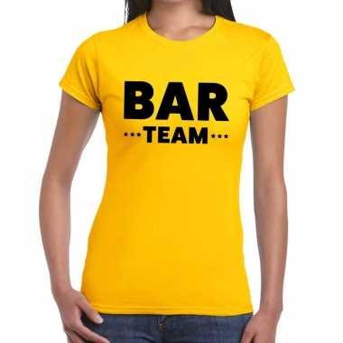 Bar team / personeel tekst geel dames t-shirt kopen