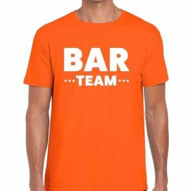 Bar team / personeel tekst oranje heren t-shirt kopen