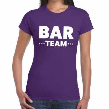 Bar team / personeel tekst paars dames t-shirt kopen