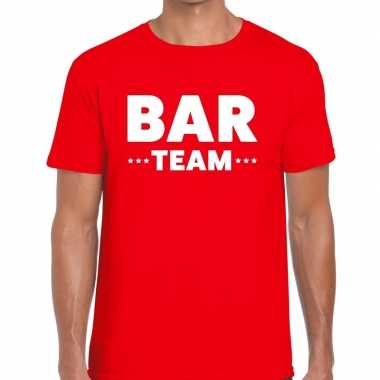 Bar team / personeel tekst rood heren t-shirt kopen