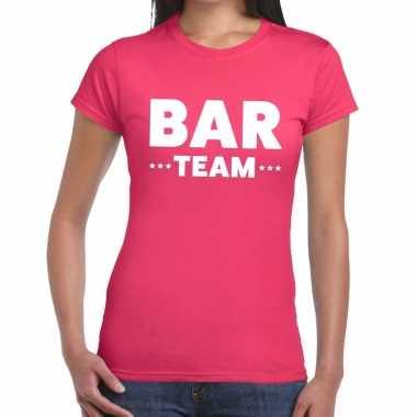 Bar team / personeel tekst roze dames t-shirt kopen