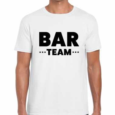 Bar team / personeel tekst wit heren t-shirt kopen