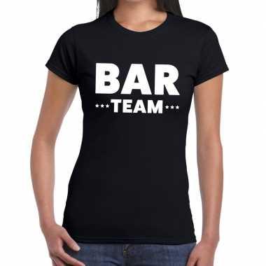 Bar team / personeel tekst zwart dames t-shirt kopen