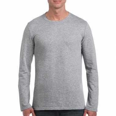Basic heren grijs lange mouwen t-shirt kopen