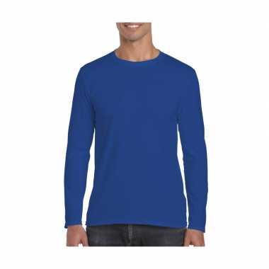 Basic heren kobalt blauw lange mouwen t-shirt kopen