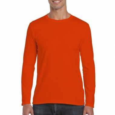 Basic heren oranje lange mouwen t-shirt kopen