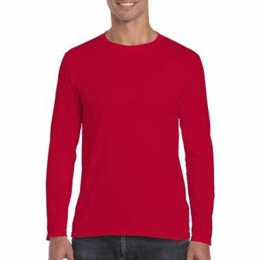 Basic heren rood lange mouwen t-shirt kopen