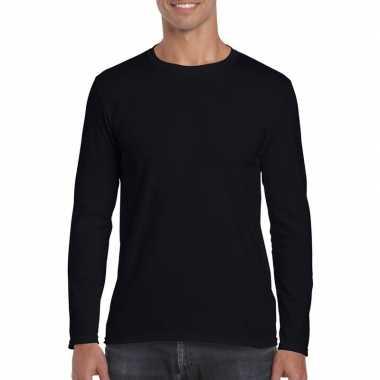 Basic heren zwart lange mouwen t-shirt kopen