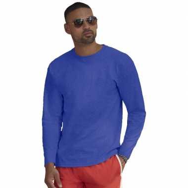 Basic lange mouwen/longsleeve blauw heren t-shirt kopen