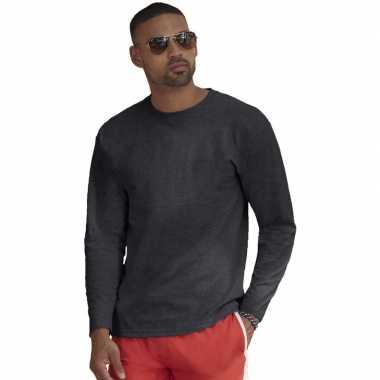 Basic lange mouwen/longsleeve donkergrijs heren t-shirt kopen