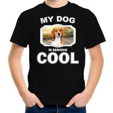 Beagle honden my dog is serious cool zwart kinderen t-shirt kopen