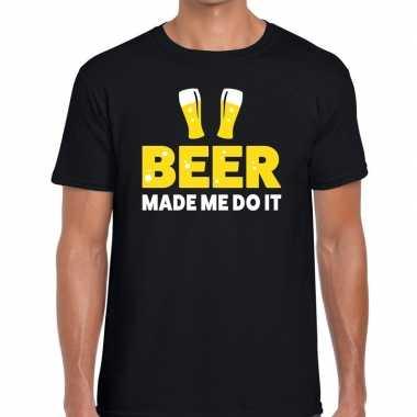 Beer made me do it fun zwart heren t-shirt kopen