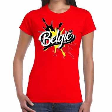 Belgie spetter rood dames t-shirt kopen