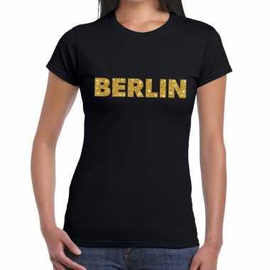 Berlin gouden glitter tekst zwart dames t-shirt kopen