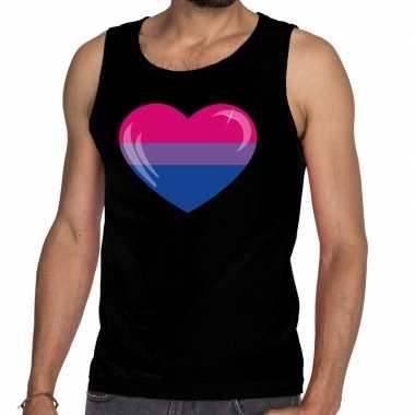 Bi hart gay pride tanktop/mouwloos zwart heren t-shirt kopen