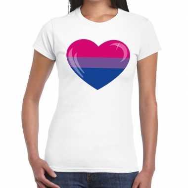 Bi hart gaypride wit dames t-shirt kopen